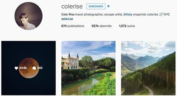 Colerise Instagram voyage