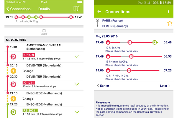 Interrail pass application mobile