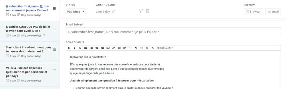 Créer une newsletter - séquence email